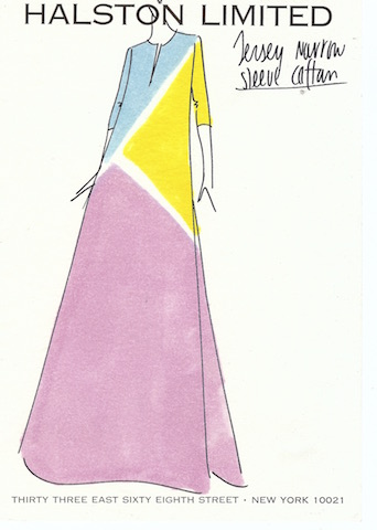 Illustration of Reikko hand painted silk jersey full length dress 1972