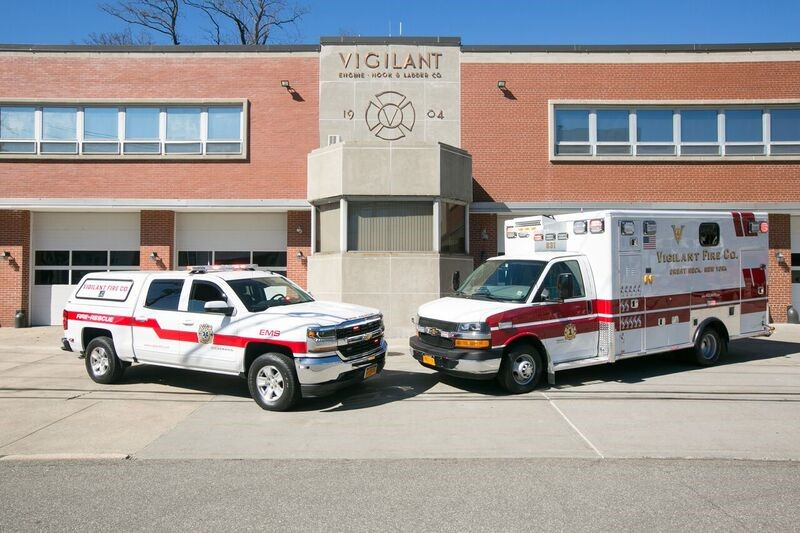 Two of Vigilant Fire Company's newest paramedic response vehicle and ambulance sit stationed outside the firehouse. (Photo courtesy of Vigilant Fire Company)
