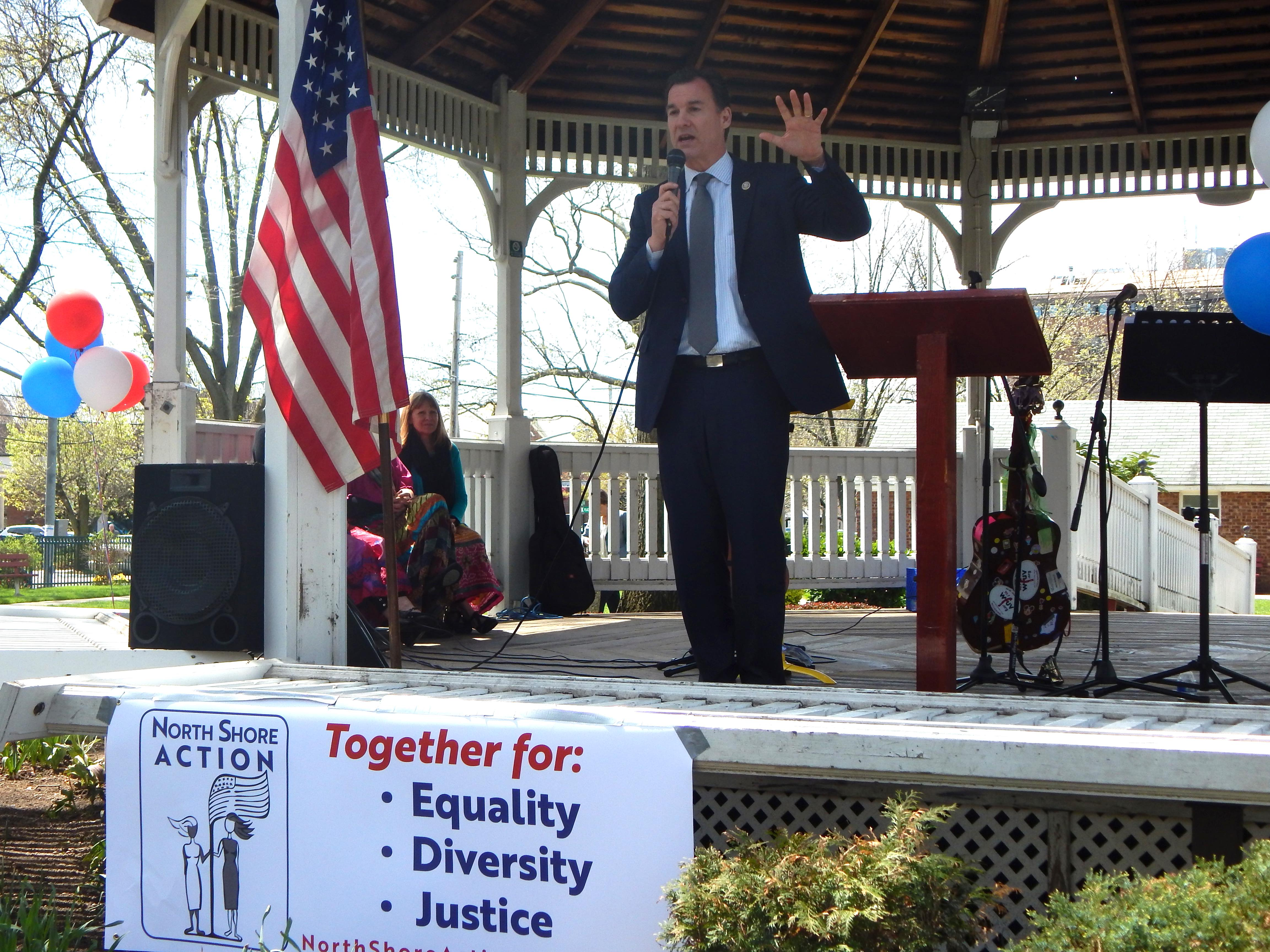 U.S. Rep. Tom Suozzi (D-Glen Cove) speaks at the North Shore Action rally on Great Neck on Sunday, April 23, 2017. (Photo by Kristy O'Connell)