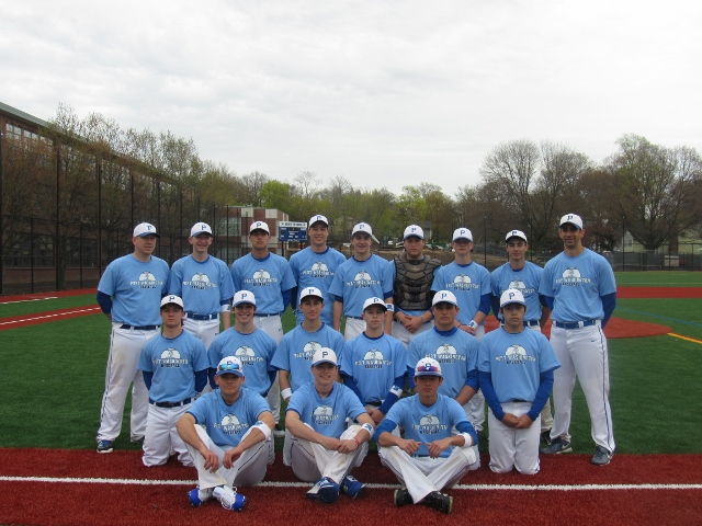 Head Coach Matt Holzer, assistant coach Phil Spotteck and the 2017 Port Washington varsity baseball team (Photo by Gregory Giaconelli)