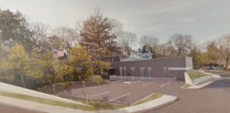 A rendering shows that the new village hall would be placed closer toward the commercial end of town, while the old village hall would remain atop the hill. (Photo courtesy of Narofsky Architecture)
