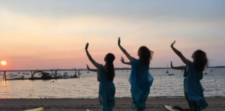 Members of Dance Visions NY, a Great Neck-based dance company, are seen here performing at Steppingstone Park and looking out towards New York City, where they will be performing in December.