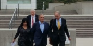 Nassau County Executive Edward Mangano, as seen leaving the federal courthouse in Central Islip. (Photo by Joe Nikic)