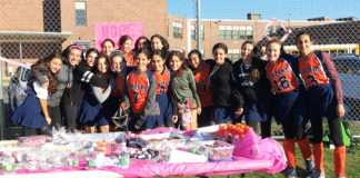 North Middle Girls Field Hockey team's bake sale raised money for breast cancer awareness.