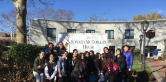 North Middle School students decided to volunteer at the Ronald McDonald House in New Hyde Park last week, baking snacks and other goods for people staying there. (Photo courtesy of the Great Neck Public Schools)