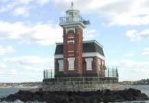 The Great Neck Historical Society's exhibit, The History of Great Neck Stepping Stones Lighthouse, will be on view in the Main Library Gallery from Dec. 14 until Jan. 13, 2018. (Photo courtesy of The Great Neck Historical Society)