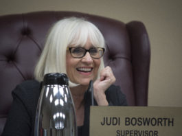 Town Supervisor Judi Bosworth smiles as she addresses one of the commissioners present at a previous board meeting. (Photo by Janelle Clausen)