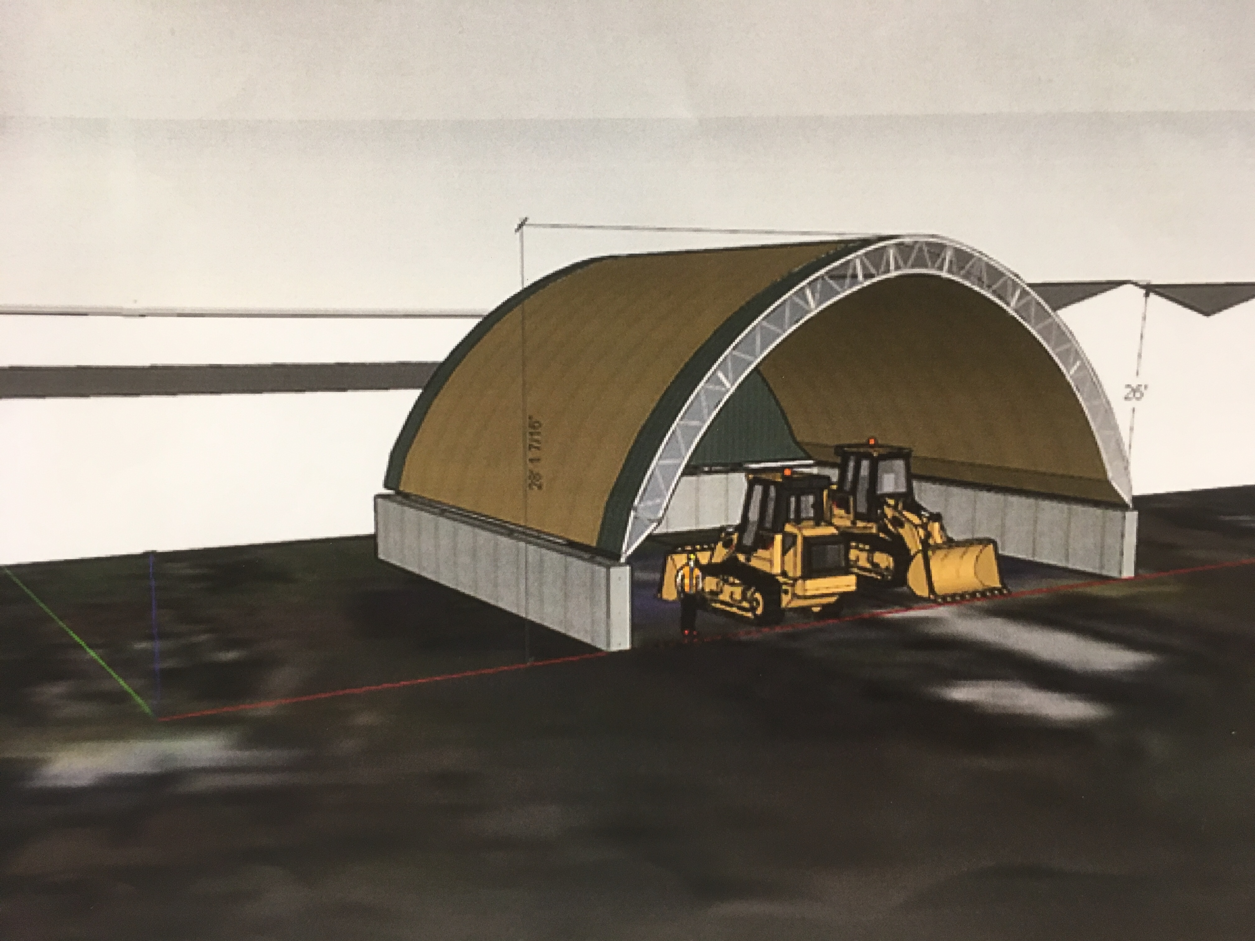 A mock-up of the proposed salt shed in Manorhaven. (Photo courtesy of Dejana Industries) & Manorhaven ided over salt storage shed - The Island Now
