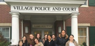 Local teens thank the Lake Success Police Department for their hard work. (Photo courtesy of Chabad of Lake Success)