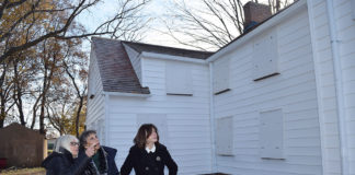 Supervisor Judi Bosworth, Marianna Wolgemuth, member of the New Hyde Park District Advisory Committee, and Council Member Lee Seeeman look over the improvements made to the Schumacher House. (Photo courtesy of the Town of North Hempstead)