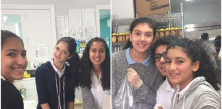 Silverstein Hebrew Academy middle school students pack food for families in need for Rosh Hashanah. (Photos courtesy of Zimmerman/Edelson)