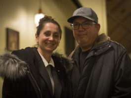 Tina Stellato and her husband Rob Villegas stayed at Great Neck House past midnight to hear the final results and shake hands with supporters. Stellato won 700 - 490. (Photo by Janelle Clausen)