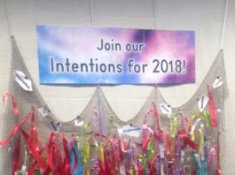 The Library invites everyone to leave a ribbon with a message on the Intentions Wall at the Main Library. (Photo courtesy of the Great Neck Library)