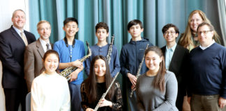 Great Neck South High School musicians Soyoung Park, Christiana Claus, Susan Fendt, Andersen Gu, Eli Goldberger, Samuel Levine, and Benjamin T. Rossen are congratulated by Principal Dr. Christopher Gitz, English Department Chair Dr. David Manuel, Vocal Music Instructor Dr. Jeanine Robinson, and Music Department Chair Michael Schwartz. (Photo courtesy of Great Neck Public Schools)