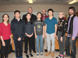 South High Regeneron Scholars Eric Kuang, Michelle Xing, Cindy Wang and Daniel Kim are joined by science research teacher Dr. Carol Hersh, Principal Dr. Christopher Gitz, Science Department Chair Bradley Krauz, and science research teachers Nicole Spanelli and Dr. James Truglio. (Photo courtesy of the Great Neck Public Schools)