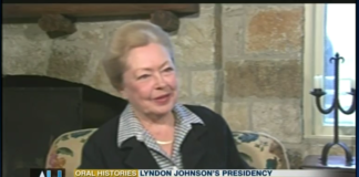 Dr. Mathilde Krim, as seen here in late 2002, recalls the Lyndon Johnson presidency. (Photo still from C-Span)