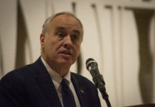 State Comptroller Thomas DiNapoli encouraged attendees to purse social justice in the spirit of Dr. Martin Luther King Jr., even as times get tough. (Photo by Janelle Clausen)