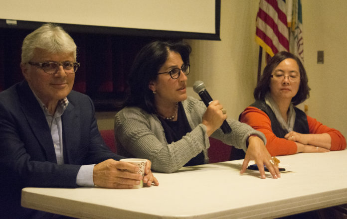 Mansour Karimzadeh, Rebecca Sassouni and Else Yung, take questions from audience members following their respective presentations. (Photo by Janelle Clausen)