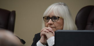 Town Supervisor Judi Bosworth, as seen at the Feb. 27 town board meeting, noted that Jessica Lamendola would serve as acting comptroller until another one could be found. (Photo by Janelle Clausen)