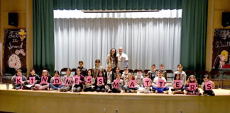 """Students of John F. Kennedy Elementary School in Great Neck spell out the phrase """"kindness matters."""" (Photo courtesy of the Great Neck Public Schools)"""