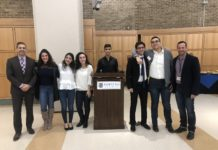 Six juniors from the North High School Athletic Leadership Club joined students from all over Nassau County for the 15th Annual Student Athletes as Leaders: Leadership On and Off the Field conference at Hofstra University. (Photo courtesy of Great Neck Public Schools)