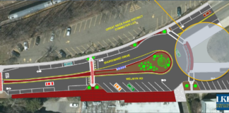 One of the two plans presented by LKB Engineers back in 2016, the village's consultant on the TEP project, shows the addition of Post Office Plaza, sharrow bike lanes, a raised median and other features. (Photo from LKB Consulting Engineers presentation)
