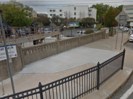 The Village of Great Neck Plaza, which owns the Barstow Road bridge that goes over the Long Island Rail Road, is eying a state grant that could fund most of its repair. (Photo from Google Maps)