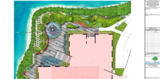 A slide of the proposed landscape changes by Bayview Landscape Architecture. (Photo from the Great Neck Library website)