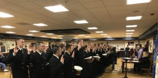 47 midshipmen were sworn in as auxiliary emergency medical technicians with Vigilant Fire Company in Great Neck. (Photo courtesy of Vigilant Fire Company)