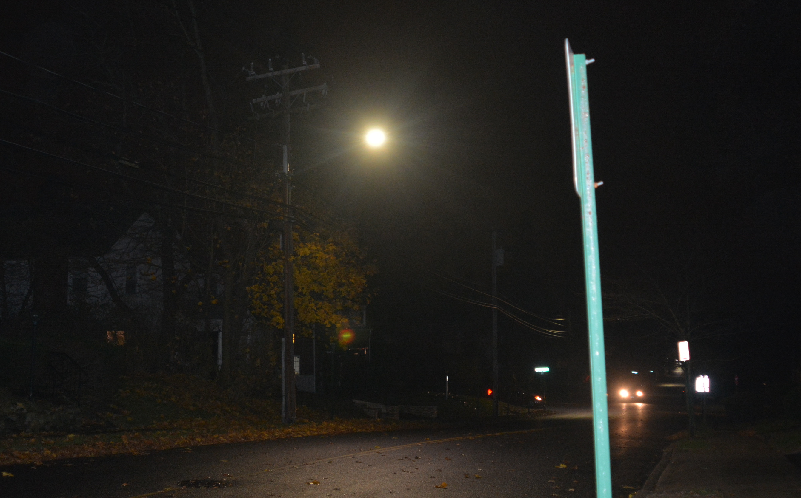 An Led Light Shines Down On Baker Hill Road Photo By Janelle Clausen