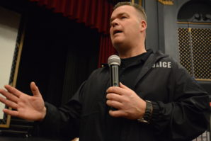 POP officer Dan Hedgecock fielded numerous questions from parents, including the scale of precautions taken, what their response time is, and if it's possible to have police on school campuses more consistently. (Photo by Janelle Clausen)