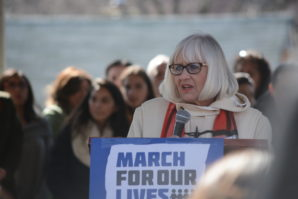 Town Supervisor Judi Bosworth, who served on the Great Neck Board of Education for 16 years, said she stands with the students pushing for changes to gun laws. (Photo by Janelle Clausen)