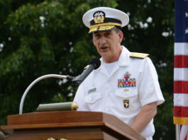 USSMA Superintendent Rear Adm. James Helis, seen here at a Fleet Week event back in May 2017, originally suspended the men's soccer team amidst a federal investigation. (Photo by Janelle Clausen)