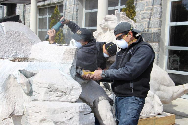 Restoration begins on Roslyn High's historic horse tamer statue