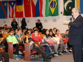 Assemblyman Anthony D'Urso speaks to a group of Great Neck South Middle School students. (Photo courtesy of Great Neck Public Schools)