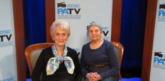 Shirley Romaine and Lois Schaffer, as seen on Public Access TV in 2014. (Photo from Blank Slate Media Archive)