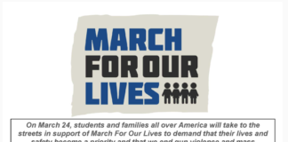 A flyer for the scheduled March for Our Lives rally in Great Neck on March 24. (Photo courtesy of North Shore Action)