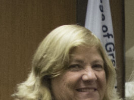 Pam Marksheid, as seen at a previous board of trustees meeting. (Photo by Janelle Clausen)