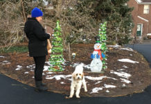 A resident and her dog strolling through Clark Botanic Garden at last year's Winter Wonderland event. (Photo courtesy of the Town of North Hempstead)