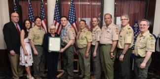 Joseph Cuomo, Jan Cuomo, Lee Decker, Supervisor Judi Bosworth, Jason Cuomo, John Walter, John D'Angelo, Ken Riscica, Mike Knox and Martin Miller at Jason Cuomo's Eagle Scout Court of Honor Ceremony. (Photo courtesy of the Town of North Hempstead)