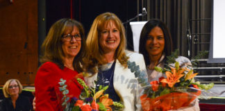 Kathleen Murray and Luciana Bradley, seen here with Superintendent of Schools Teresa Prendergast, will now head Saddle Rock and Parkville Elementary School, respectively. (Photo by Janelle Clausen)