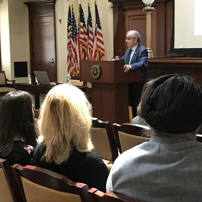 Assemblyman D'Urso speaking at the Nassau County Legislative Building. (Photo courtesy of Assemblyman Anthony D'Urso's office)