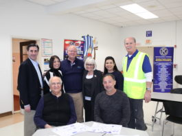 Town Clerk Wayne Wink, Council Member Dina De Giorgio, Bill Gordon, Supervisor Judi Bosworth, Council Member Anna Kaplan, Lt. Governor-Elect of Kiwanis Club of Manhasset-Port Washington Jeff Stone and Mike Ruffano and Joe Domina gathered together for a charitable breakfast. (Photo courtesy of the Town of North Hempstead)