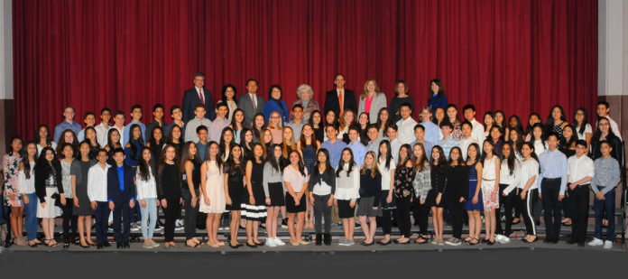 North Middle students were recognized by the Board of Education. (Photo by Irwin Mendlinger)