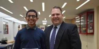 Vijay Paliath is pictured with Mineola High School Principal Whittney Smith. (Photo courtesy of Mineola Union Free School District)