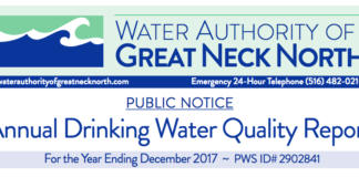 The Water Authority of Great Neck North's annual drinking water quality report showed no violations for contamination of drinking water. (Photo from the Water Authority of Great Neck North)