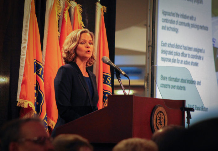 County Executive Laura Curran during her State of the County speech in Garden City. (Photo by Janelle Clausen)