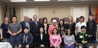 Supervisor Judi Bosworth and Council Members Lee Seeman and Anna Kaplan and Receiver of Taxes Charles Berman visited Ms. Campbell's 10th grade class. (Photo courtesy of the Town of North Hempstead)