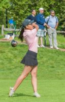 Lauren Chen of Manhasset, seen here teeing off at the county tournament, will be one of nine girls representing Nassau County at the state level. (Photo courtesy of Jim Amen)