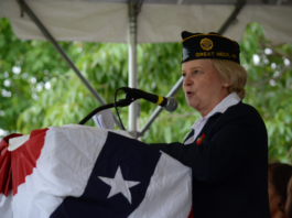 Louise McCann, as seen at last year's Memorial Day parade in Great Neck, said the parade and ceremonies are more about remembrance than celebration. (Photo by Janelle Clausen)